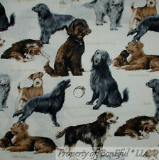 BonEful Fabric Cotton Dog Breed Retriever B&W Gold Gray Irish Sheep Hound SCRAP