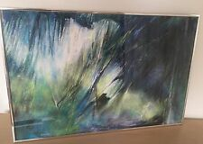 """Edna Lake """"Fjords""""Abstract 1980s Modernist Painting,Green & Blue Vintage Acrylic"""