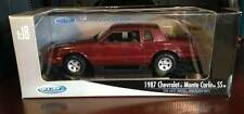 NEW Welly 1987 Chevrolet Monte Carlo SS 1:18 Die Cast Car Burgundy