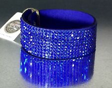 Swarovski Elements Slake Warp Bracelet Crystal Royal Blue Alcantara Leather Cuff