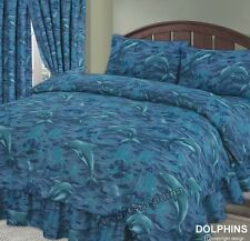 DOUBLE BED COMPLETE DUVET COVER SET DOLPHINS SEA OCEAN WAVES SPLASH BLUE