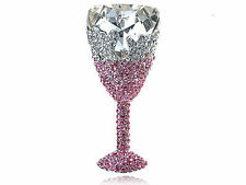 Stunning Rose Clear Crystal Rhinestone Champagne Drink Glass Cup Brooch ZJ6
