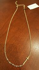NWT Silpada K & R Sideways Cross Hammered Gold Crystal Necklace