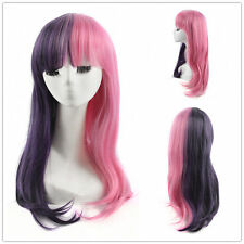 Melanie Martinez COSPLAY Half Purple Half Pink Wig Long Straight Women Wigs