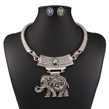 Vintage Elephant Pendant Chain Resin Chunky Bib Punk Necklace Earring Jewelry