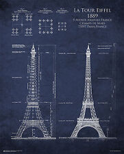 EIFFEL TOWER BLUEPRINT - POSTER - 24x30 PARIS FRANCE 10395