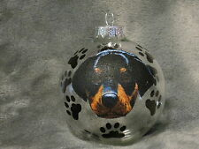 HAND MADE ROTTWEILER PUPPY GLASS CHRISTMAS ORNAMENT / BALL