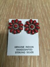Native American Navajo Cluster Post Red Coral Earrings  L Watson Wow Stunning #4