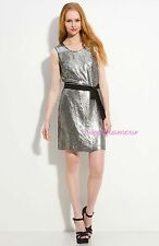 NWT $345 DKNY Silver Zinc Sequin Stretch Silk Shift Cocktail Dress 12