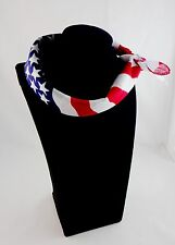 Skinny scarf bandana red white blue USA flag July 4th square