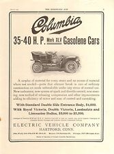 1905 COLUMBIA TOURING/ QUEEN 2 SIDED  ORIG VINTAGE  CAR  AD