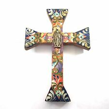 """Tin Milagros Mexican Folk Art 9.1"""" Wood Cross Our Lady of Guadalupe Wall Hanging"""