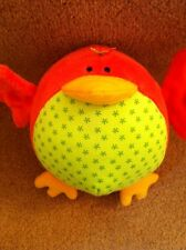 Mothercare Red Bird Robin Soft Toy Comforter Rattle Jingle