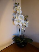 Large White Orchid Artificial Potted Plant Ceramic Round Black Planter Pot House