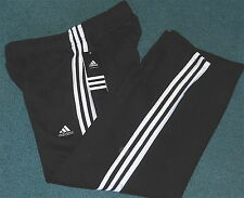 NWT Adidas Boys L Black/White 3 Stripe Embroidered Logo Sweat Pants Large 14-16