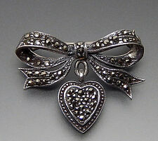 Vintage Sterling Silver Marcasite Bow Heart Dangle Brooch Pin! Glistening!