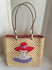Ladies high society raffia straw red hat bag purse tote looking unused.