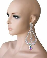 "5.5"" Long Statement Earrings, Aurora Borealis Rhinestones, Drag Queen Pageant"