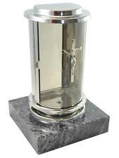 Grablaterne aus Edelstahl auf Granitsockel Orion, Grablampe Grablicht