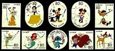 JAPAN 2012 DISNEY CHARACTERS, 80 YEN COMPLETE SET OF 10 STAMPS FINE USED
