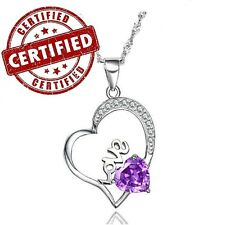 Heart Shaped Purple Amethyst Sterling Silver Pendant with Sterling Chain