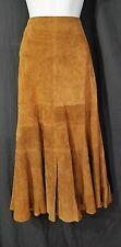 NWOT, Etcetera, Suede Leather, Trumpet Skirt, Mid-Calf, Lined, Congac Brown, 4