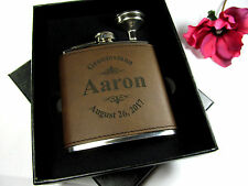 Custom Engraved Leather Flask Personalized Groomsmen Gift Box with Funnel LGO