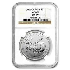 New 2012 Canadian Silver Moose 1oz NGC MS69 Graded Slab Coin