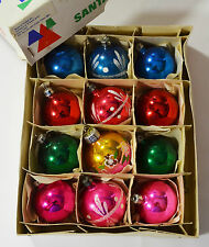 12 VINTAGE BLOWN GLASS SANTALAND CHRISTMAS TREE BAUBLES 1960's/1970's BOXED