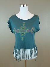 LUSH Olive Green Sleeveless Fringe Top Blouse S SMALL 50% Cotton, 50% Modal