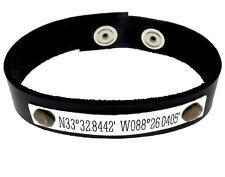 Personalized Mens GPS Latitude Longitude Bracelet - Custom Adjustable Wrist Band