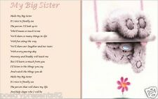 MY BIG SISTER - from new baby - laminated gift (WRITTEN BY SELLER)