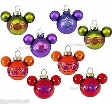 New Disney Parks Mickey Mouse Icon Bohemian Glass 8 Pc Mini Bulb Ornament Set