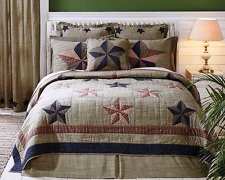 VINCENT STAR Cal King QUILT SET : PRIMITIVE AMERICANA RUSTIC RED BLUE PLAID
