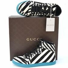 GUCCI New sz 37 G - US 7.5 Authentic Womens Calf Fur High Top Shoes Sneakers