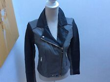 River island grey & black leather jacket size 10