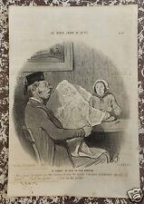 """Honoré Daumier Lithographie originale Série """"Les beaux jours de la vie"""" n°74"""