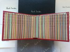 Paul Smith Signature Stripe Wallet - Red Leather -