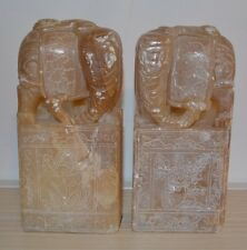 VINTAGE PAIR OF HAND CARVED IN STONE ELEPHANT BOOKENDS ** FREE SHIPPING **