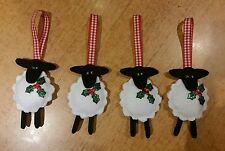 4 Blanco Negro Oveja Gisela Graham Decoración Navidad GUINGA cinta acebo