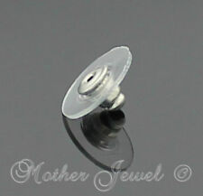 Large 1cm Plastic Silver Plated Earring Stud Big Backs Stoppers Stretched Earnut