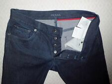 PRADA stretch jeans donna TAPERED FIT,Tg.W32 colore blu scuro,Made In Italy