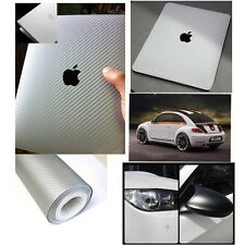 "20""x50"" Silver Carbon Fiber Vinyl Car DIY Wrap Sheet Roll Film Sticker Decal"