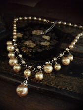Vintage Oyster Coffee Cream Gold Pearl Drop and Crystal  Necklace. Adjustable