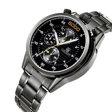 MEGIR Luxury Watch Steel Watches Chronograph 6 Hands 24 Hours Military Watch