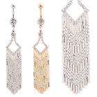 New 14G Clear Or Gold Gems Crystal Long Tassels Dangling Belly Bar/Navel Ring