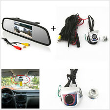 Car Rearview Mirror Display Monitor+License Screw Mini Reverse Parking HD Camera