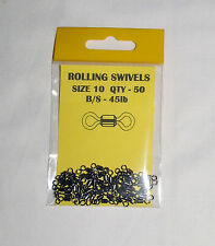Rolling Barrel Swivels Size 10 Pack of 50 B/S 45lb - Carp  Coarse Fishing