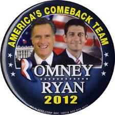 2012 Romney Ryan AMERICA'S COMEBACK TEAM Jugate Campaign Button (4862)