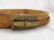 VINTAGE LEATHER solid brass antique unique hook military uniform belt 32